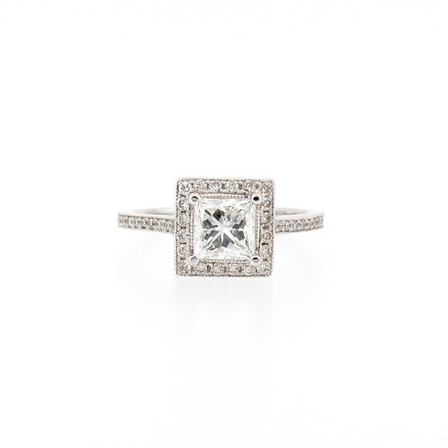 1.66ctw Diamonds Princess Cut with Halo Engagement Ring Front