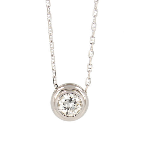 Solitaire Bezel Set Round Diamond Necklace Front