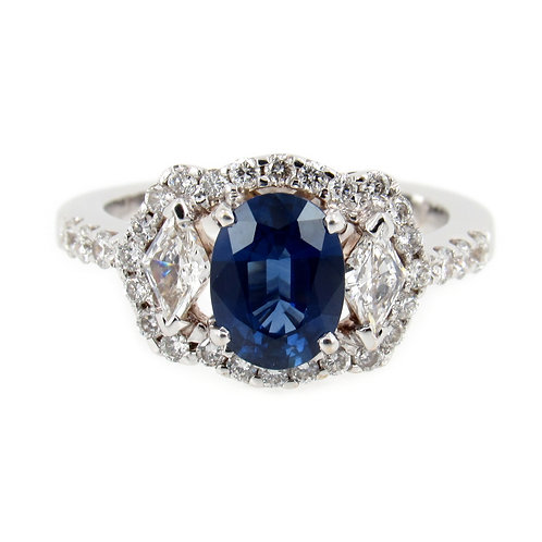 2.18 ctw Blue Sapphire and Diamonds Ring Front