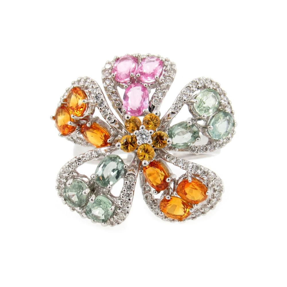 Sapphire Flower ring made of green sapphire, orange sapphire, pink sapphire, and diamonds.