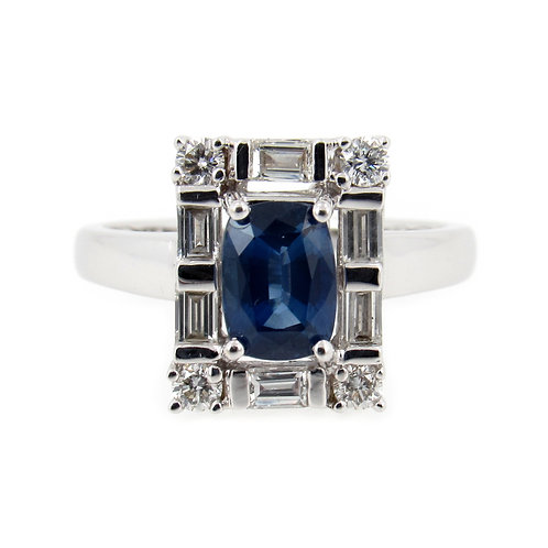 1.95 ctw Blue Sapphire and Diamonds Ring Front