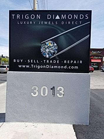 Trigon Diamonds store sign, Trigon Diamonds street sign
