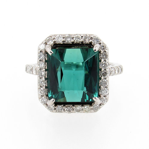 7.49ct Tourmaline & Diamonds Halo Ring front