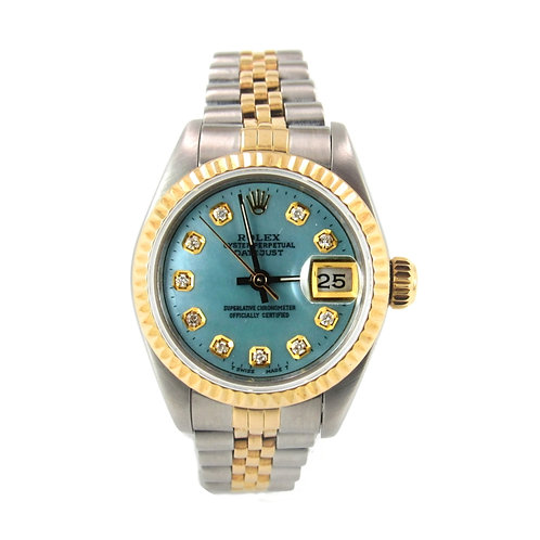 Rolex Date Just Ladies Watch Baby Blue Diamond Dial
