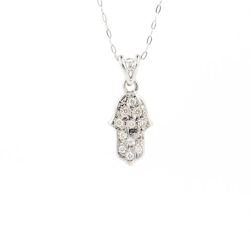 0.13ctw Diamonds Hamsa Gold Pendant Front
