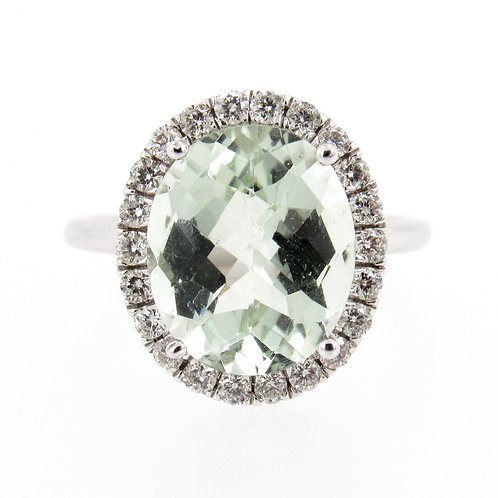 4.23ct Green Amethyst & Diamonds Halo Ring front