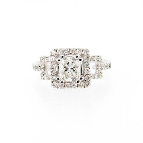 1.59ctw Diamonds Princess Cut with Eternal Halo Engagement Ring Front