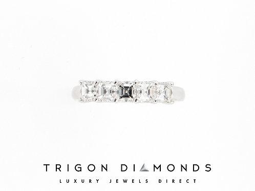 1.07ctw 5 Asscher Cut Diamonds Anniversary Ring