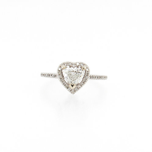 0.78ctw Diamonds Heart Shape Diamond with Halo Engagement Ring Front