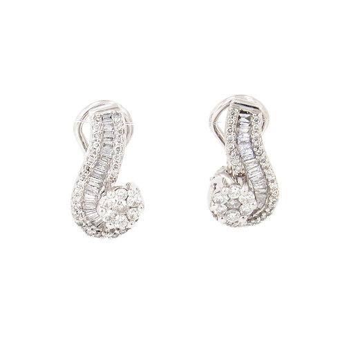 2.00ctw Diamonds Flowers Path Earrings Front