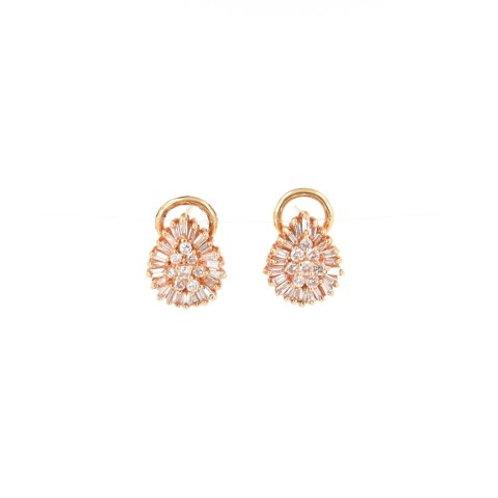 1.20ctw Diamonds Leaf Design Earrings Front