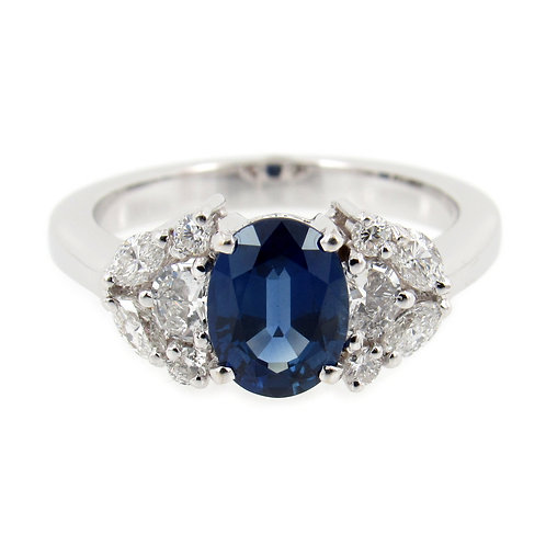 1.89 ctw Blue Sapphire and Diamonds Ring Front