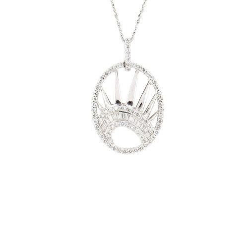 1.00ctw Diamonds Liberty Crown Pendant Front