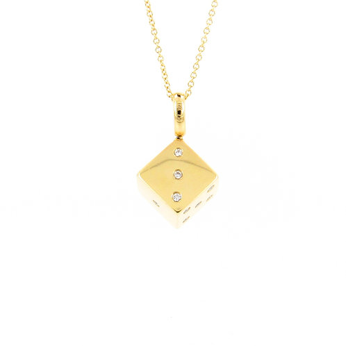 0.26ctw Diamonds Yellow Gold Die Pendant Front