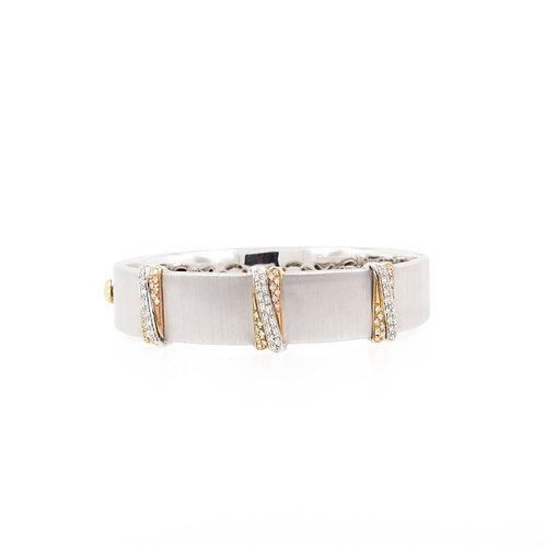 "0.60ctw Diamonds Two Tone Gold ""X"" Bracelet"
