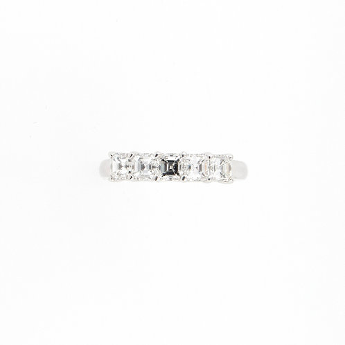 1.07ctw 5 Asscher Cut Diamonds Anniversary Ring
