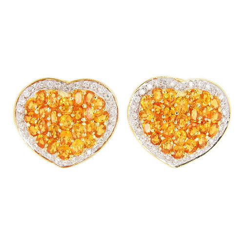 11.50 ctw Citrine and Diamonds Heart Shape Earring Front