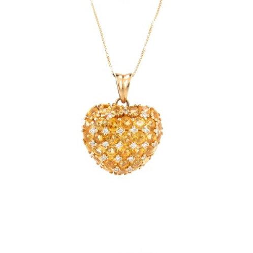 5.40ctw Citrine & Diamonds Heart Pendant