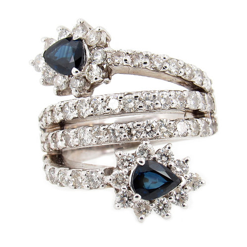 4.70 ctw Sapphire and Diamond Bypass Ring Front