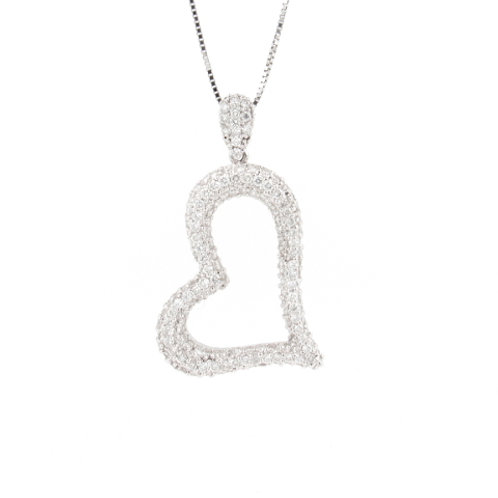 1.84ctw Diamonds Bubble Heart Pendant Front