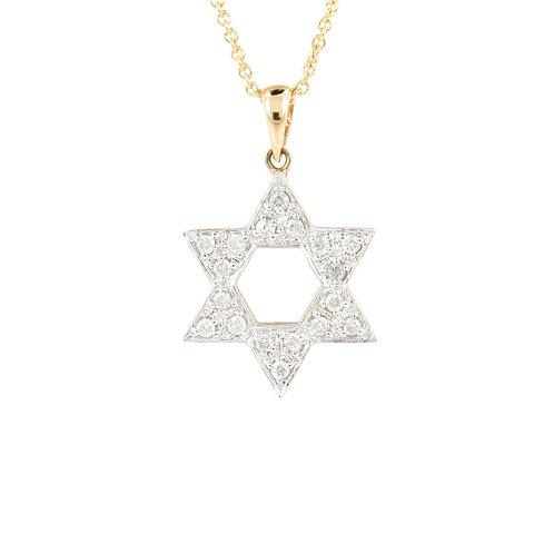 0.22ctw Diamonds Star of David 2 Tone Gold Pendant Front