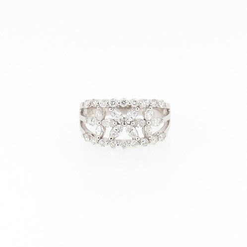 0.98ctw Diamonds Flowers Ring Front