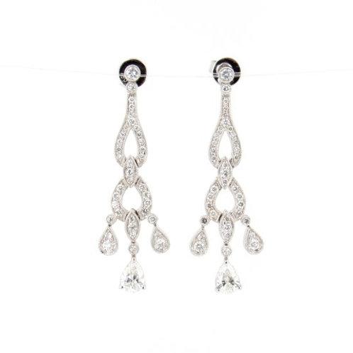 1.73ctw Diamonds Pear Diamonds Drop Earrings Front