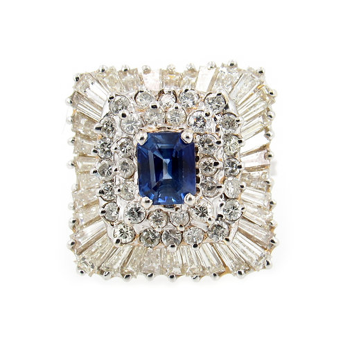 5.75 ctw Blue Sapphire and Diamonds Ring front