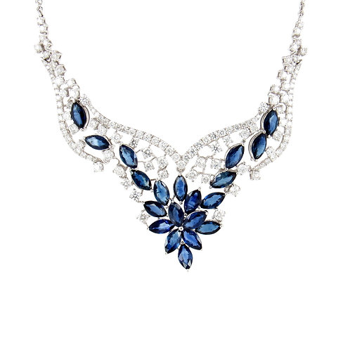 12.28 ctw Blue Sapphire and Diamond Floral Necklace