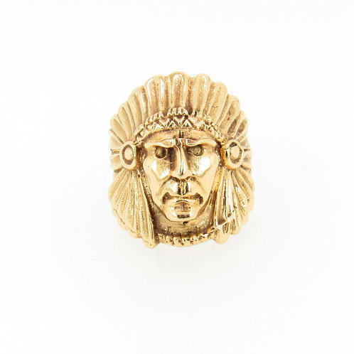 Native American Chief Sculpture Gold Ring Front