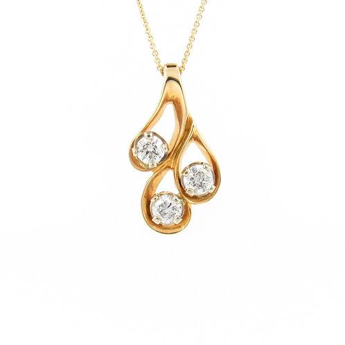 0.90ctw Diamonds Trilogy Family Pendant Front