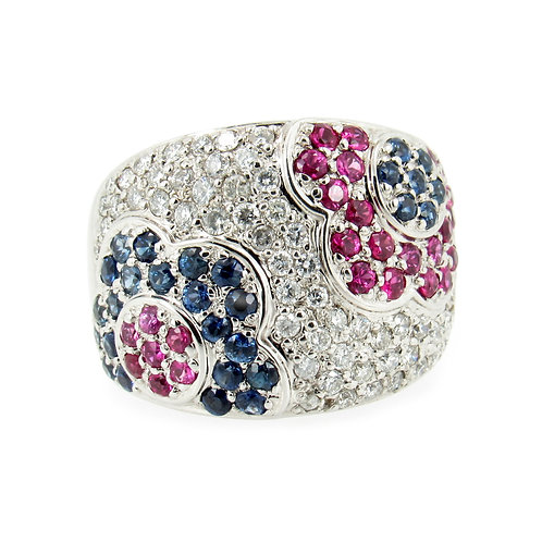 3.50 ctw Diamond, Sapphire and Ruby Flower Ring front