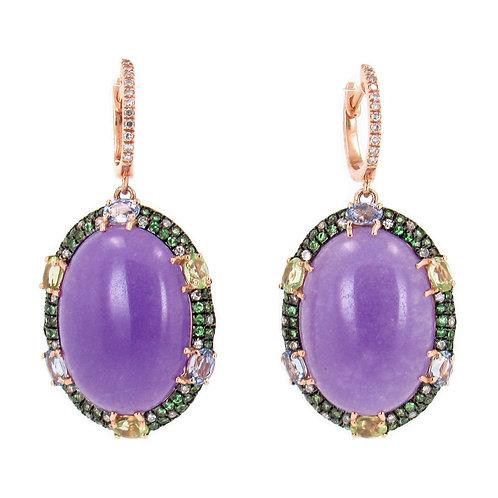 21.86 ctw Jade, Tsavorite and Diamonds Earrings Front
