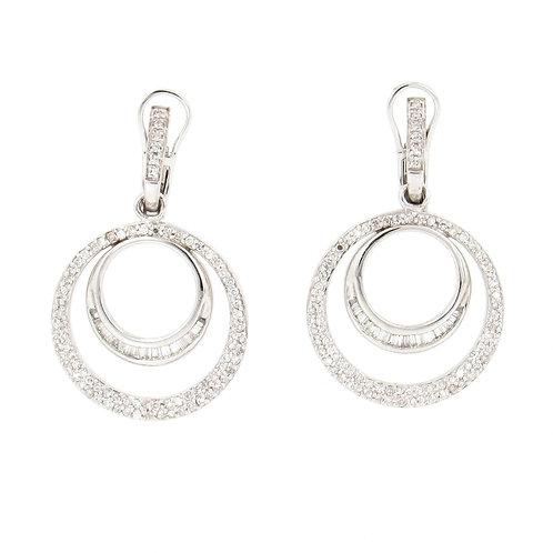 1.25ctw Diamonds Double Circles Earrings Front