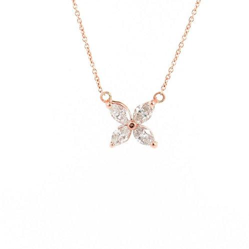 0.67ctw Diamonds Flower Necklace Front