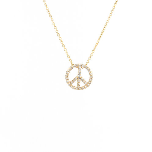 0.12ctw Diamonds Peace Sign Gold Pendant Front