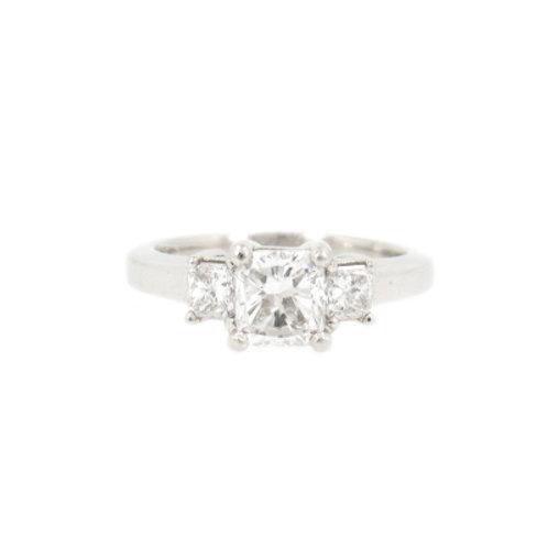 1.43ctw Radiant Cut Diamonds Trilogy Engagement Ring