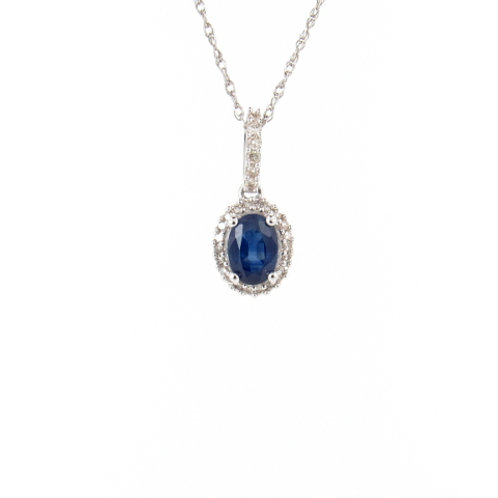 1.40ctw Blue Sapphire & Diamonds Halo Pendant