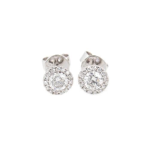 0.48 ctw White Gold Diamond Earrings Front