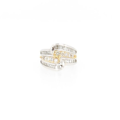 1.50ctw Round and Baguette Cuts Diamond 2 Tone Ring Front