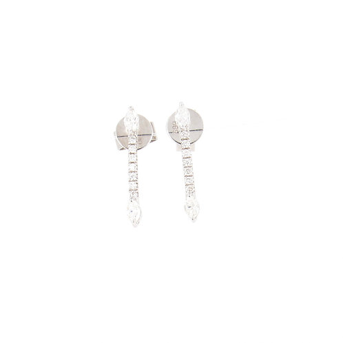 0.38ctw Round & Marquise Diamonds Earrings Front