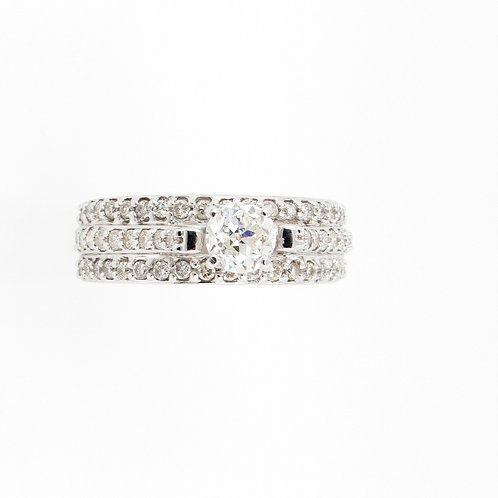 1.32 ctw Round Diamonds 3-Rows Engagement Ring Front