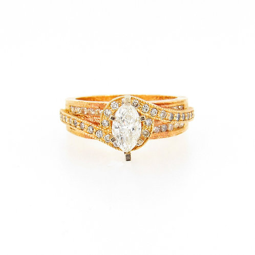 0.75ctw Marquise Cut & Round  Diamonds Raw Design Engagement Ring Front