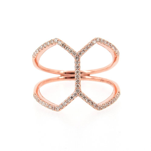 0.29 ctw Diamond Modern Butterfly Ring Front