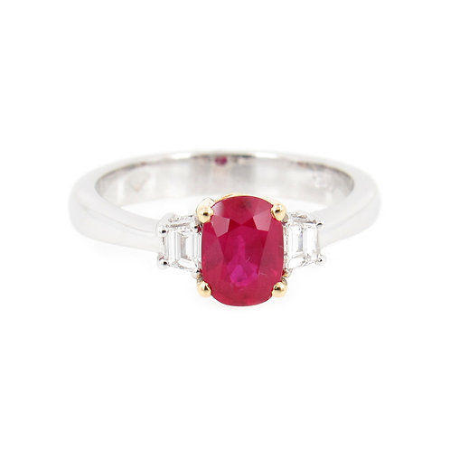 1.86 ctw Ruby and Diamonds Ring front