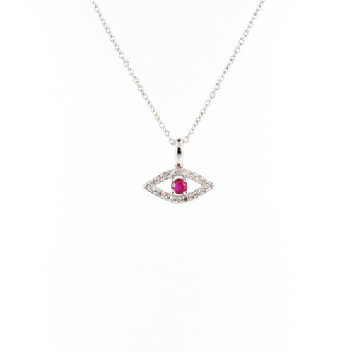 "0.18ctw Ruby & Diamonds ""Protection Eye"" Pendant Front"