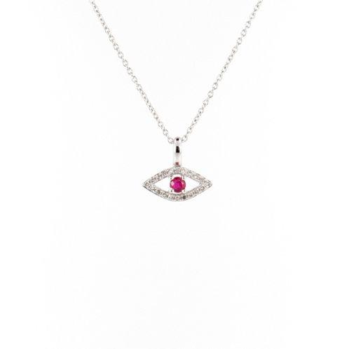 "0.18ctw Ruby & Diamonds ""Protection Eye"" Pendant Front"