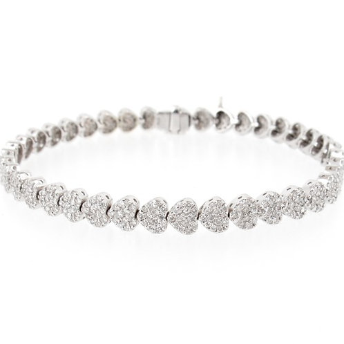 5.00ctw Diamonds Hearts Design Bracelet Front