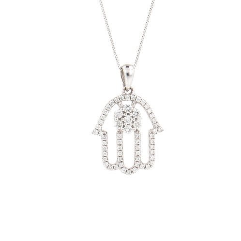 0.39ctw Diamonds Hamsa with Flower Pendant Front