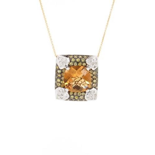 5.35ctw Citrine, Sapphires & Diamonds Pendant